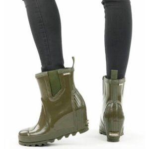 🆕 SOREL green wedge waterproof rain ankle boots